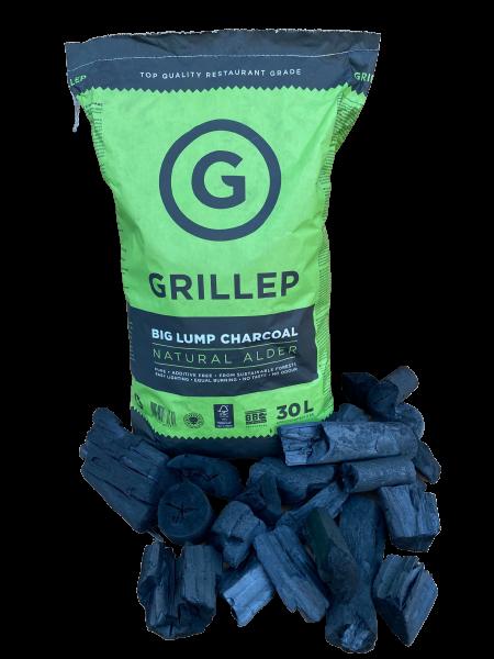 Большой кусок древесного угля GRILLEP premium (ольха) 30 л мешок 4 кг, 100% FSC