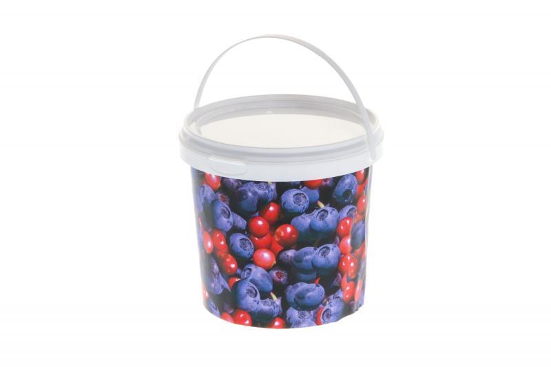 Ведро пластиковое с крышкой 1л ягод