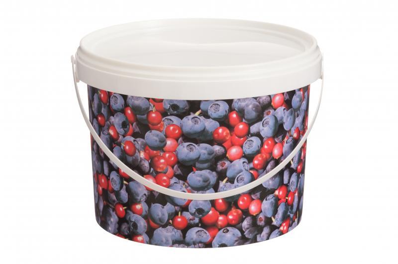 Ведро пластиковое с крышкой 3л ягод